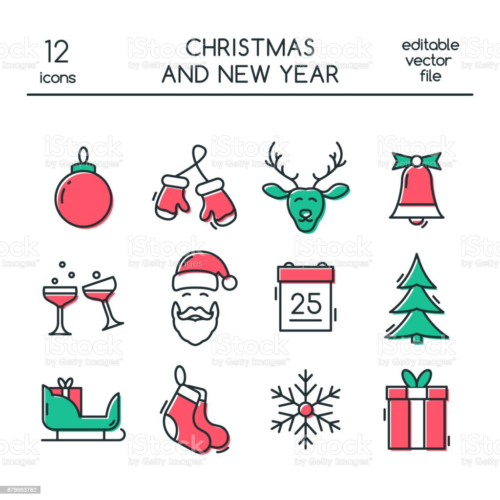 christmas and new year icons made in modern line style colored vector christmas symbols