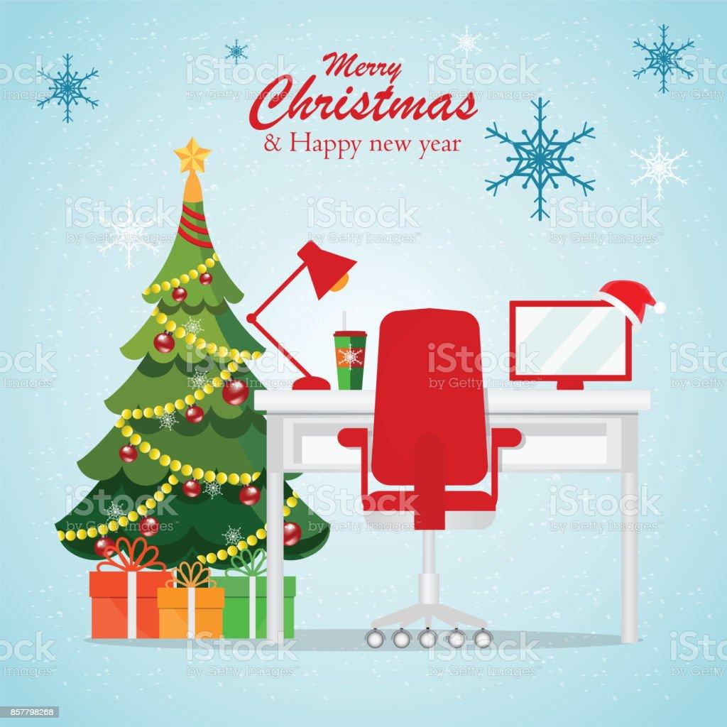 Noël et nouvel an à l'intérieur du milieu de travail de bureau moderne. - Illustration vectorielle