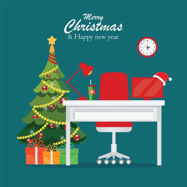 weihnachten und neujahr in moderne büroeinrichtung am arbeitsplatz. - firmenweihnachtsfeier stock-grafiken, -clipart, -cartoons und -symbole