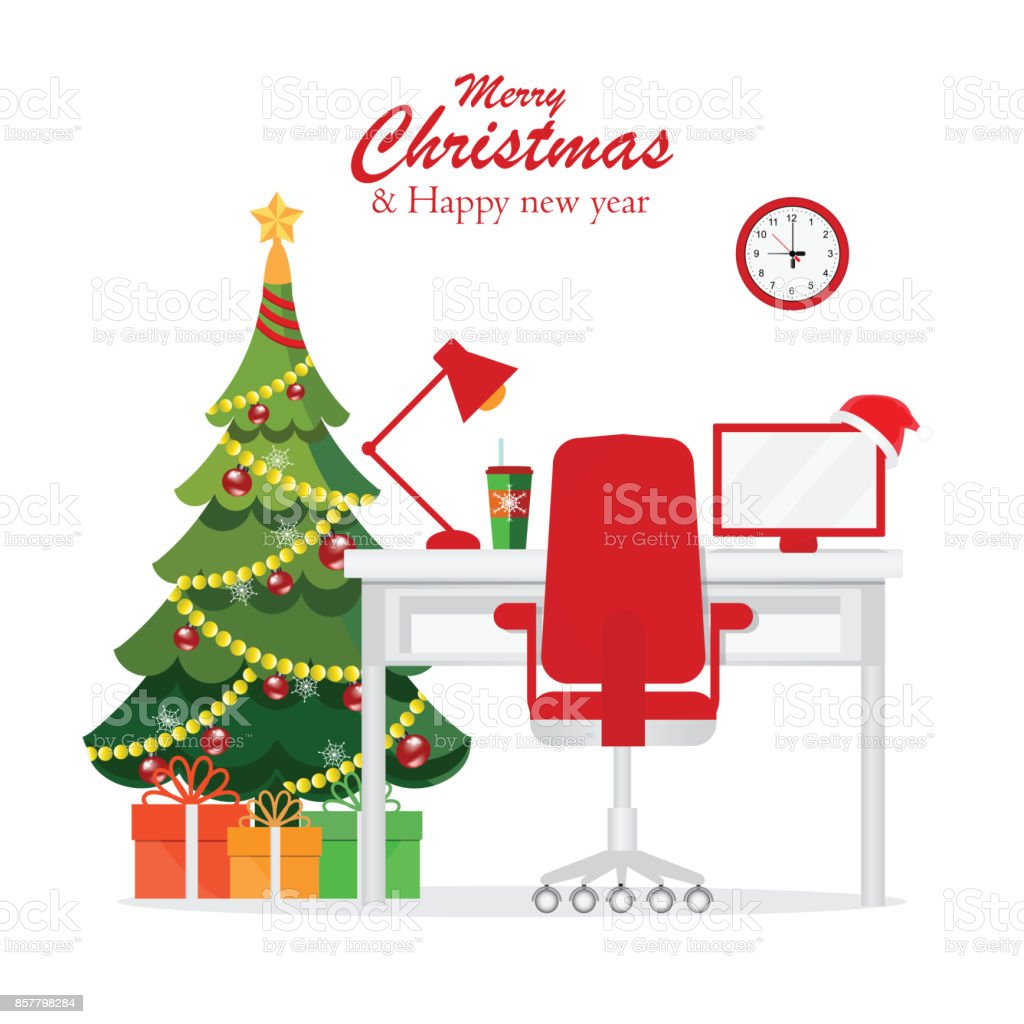 Christmas and New Year in modern office workplace interior . vector art illustration