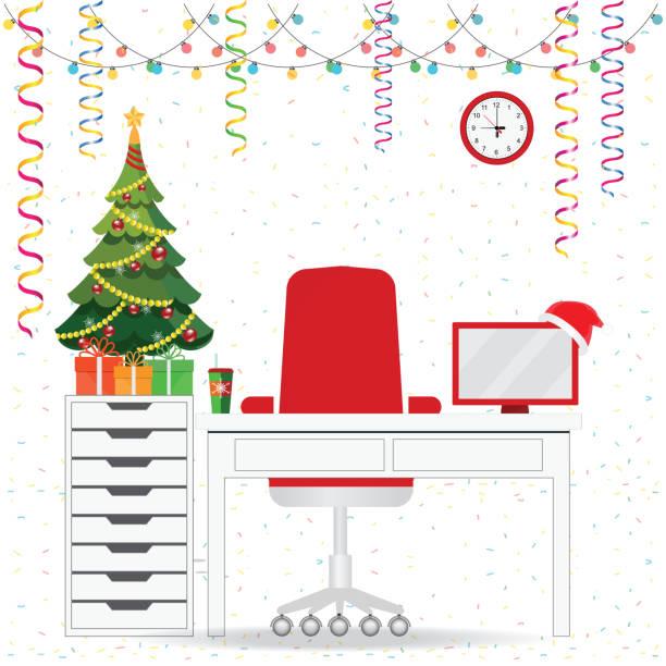 weihnachten und neujahr in moderne büroeinrichtung arbeitsplatz mit schreibtisch. - firmenweihnachtsfeier stock-grafiken, -clipart, -cartoons und -symbole
