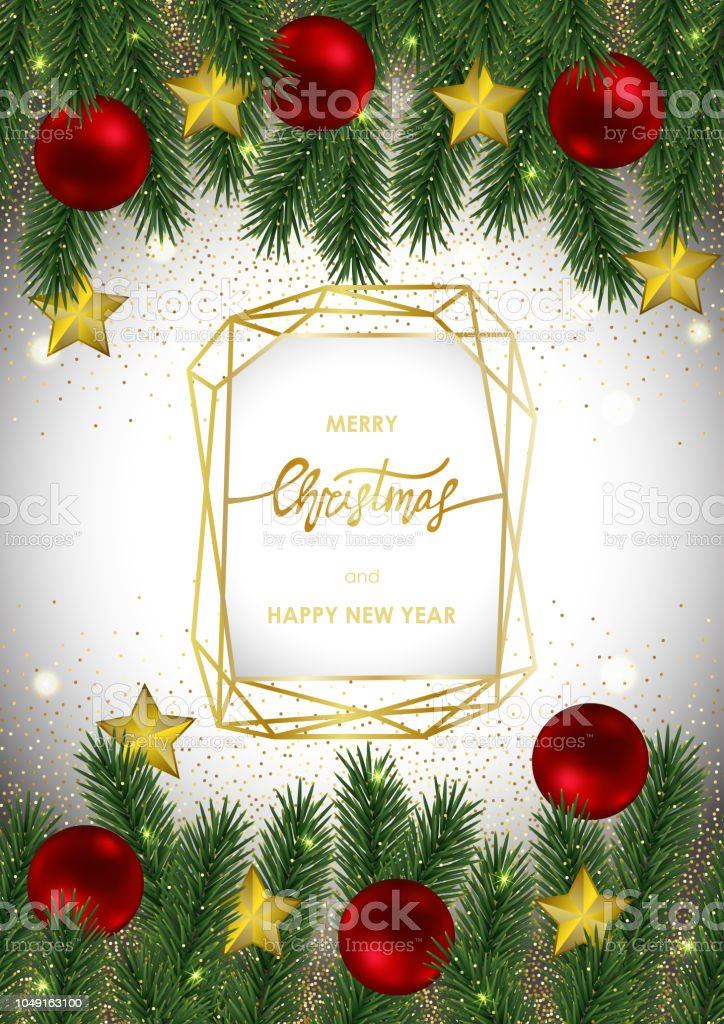 christmas and new year invitation card with gold geometric frame royalty free christmas and new