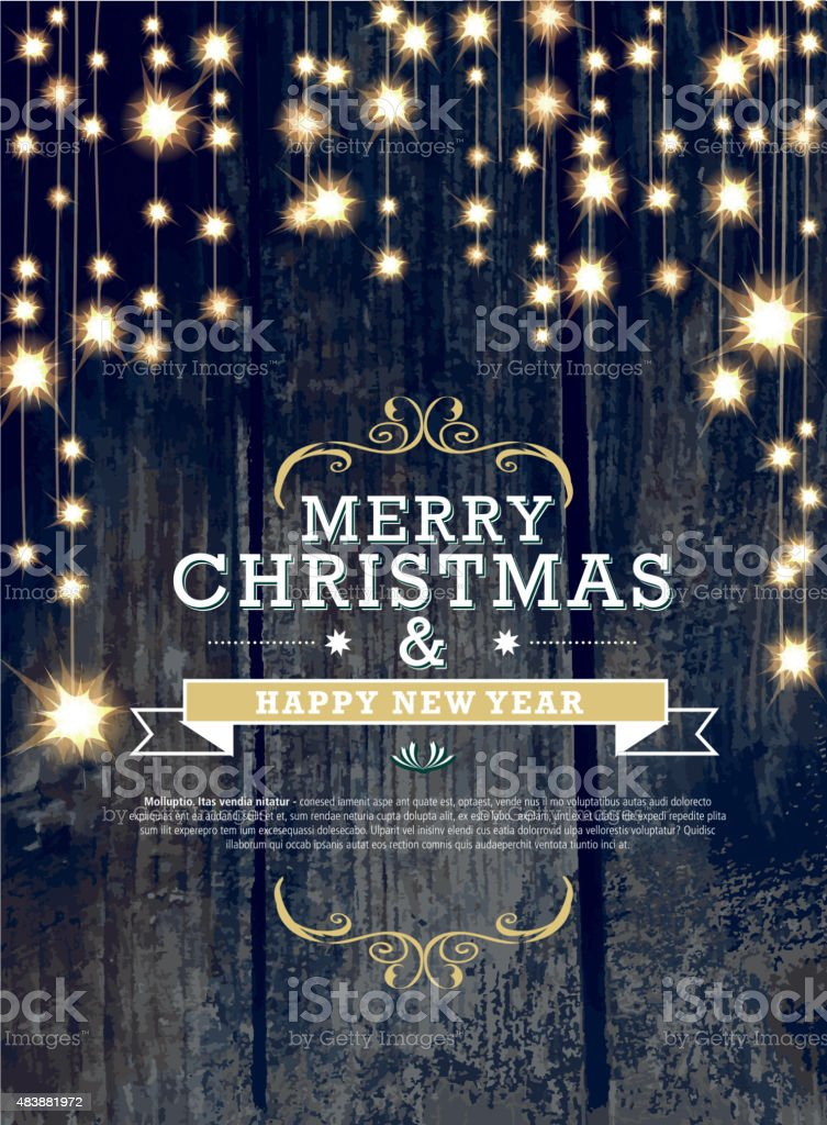 Christmas and New Year invitation design woodgrain with string lights