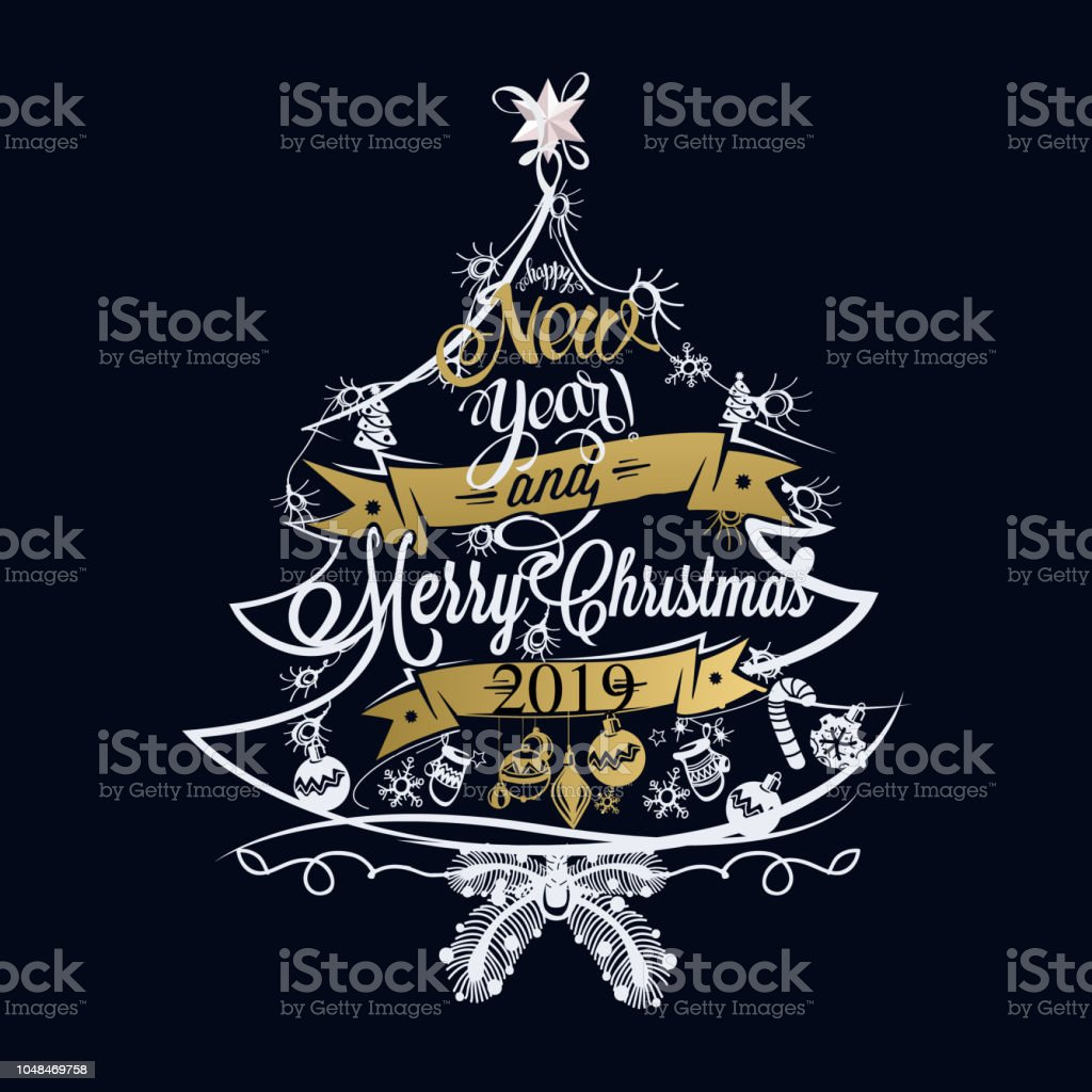 2019 christmas and new year label with colored lights on a christmas tree royalty free