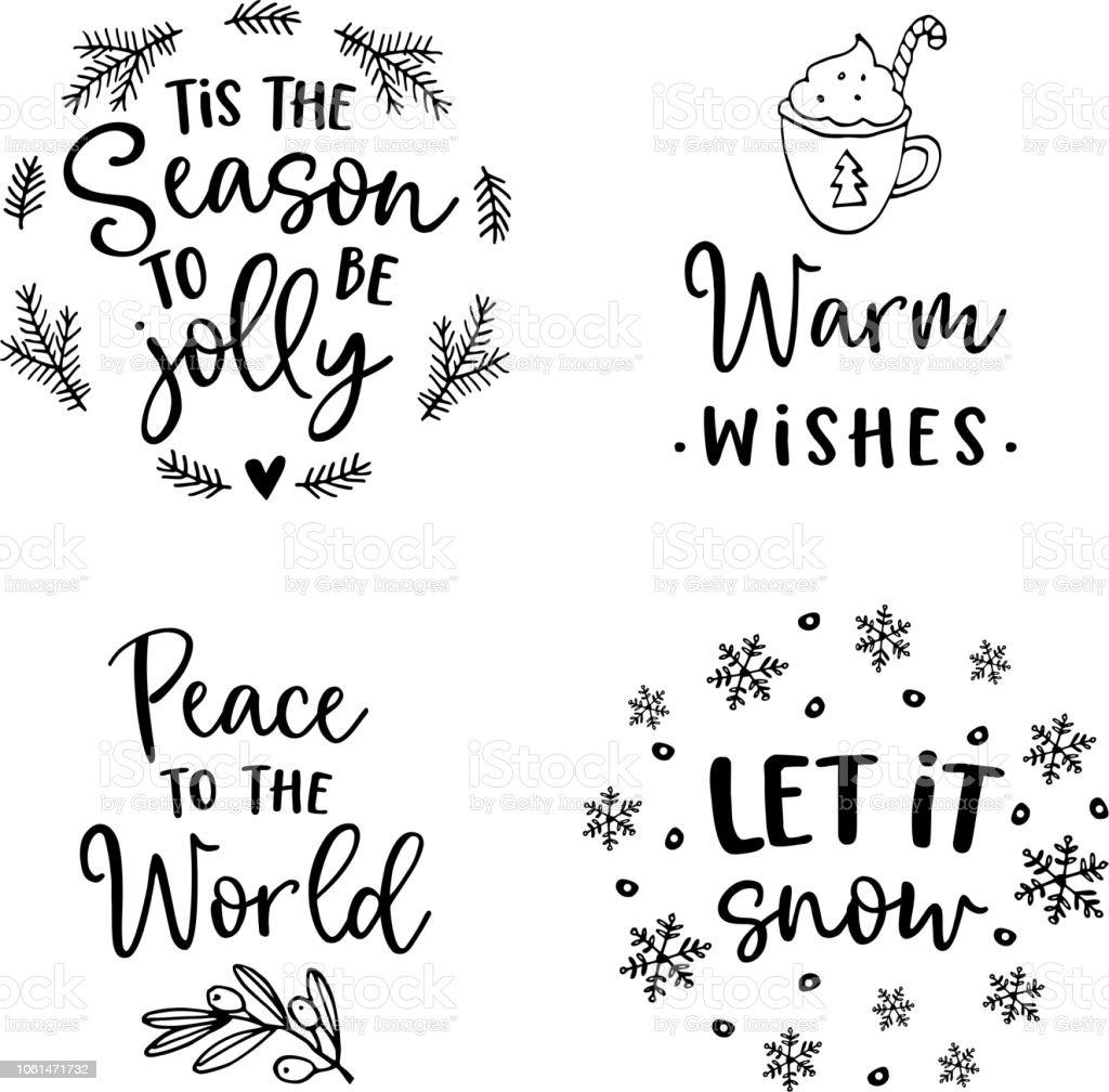 Weihnachten Und Neujahr Schriftzug Festlegen Hand