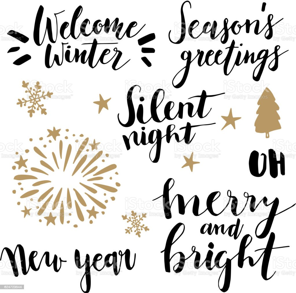 Christmas and New Year lettering set.  Hand lettered quotes. - ilustración de arte vectorial