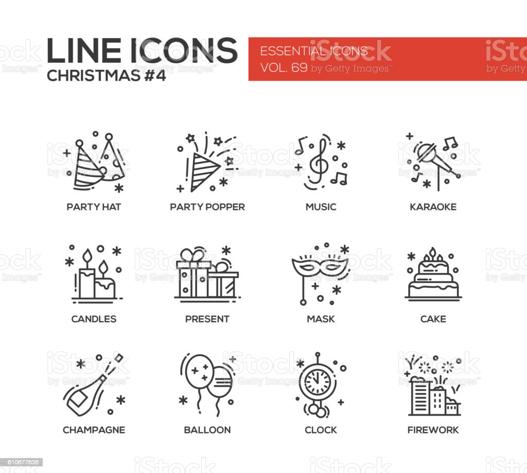 Christmas and New Year - line design icons set - Illustration vectorielle