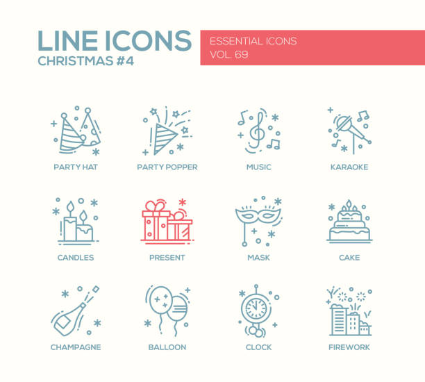 Christmas and New Year - line design icons set - ilustración de arte vectorial