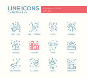 Christmas and New Year - line design icons set