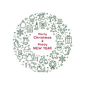 Christmas and New Year line icon wreath. Vector illustration.