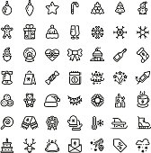 Christmas and New Year line vector icons. Xmas winter outline symbols set. Winter christmas holiday line icon, new year symbols illustration