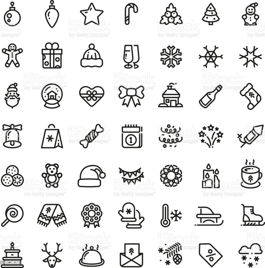 Christmas and New Year line vector icons. Xmas winter outline symbols set vector art illustration