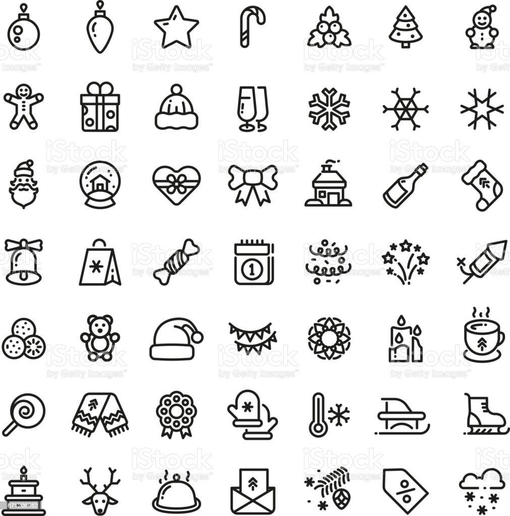 Navidad y año nuevo línea de iconos de vector. Conjunto de símbolos de esquema de invierno Navidad - ilustración de arte vectorial
