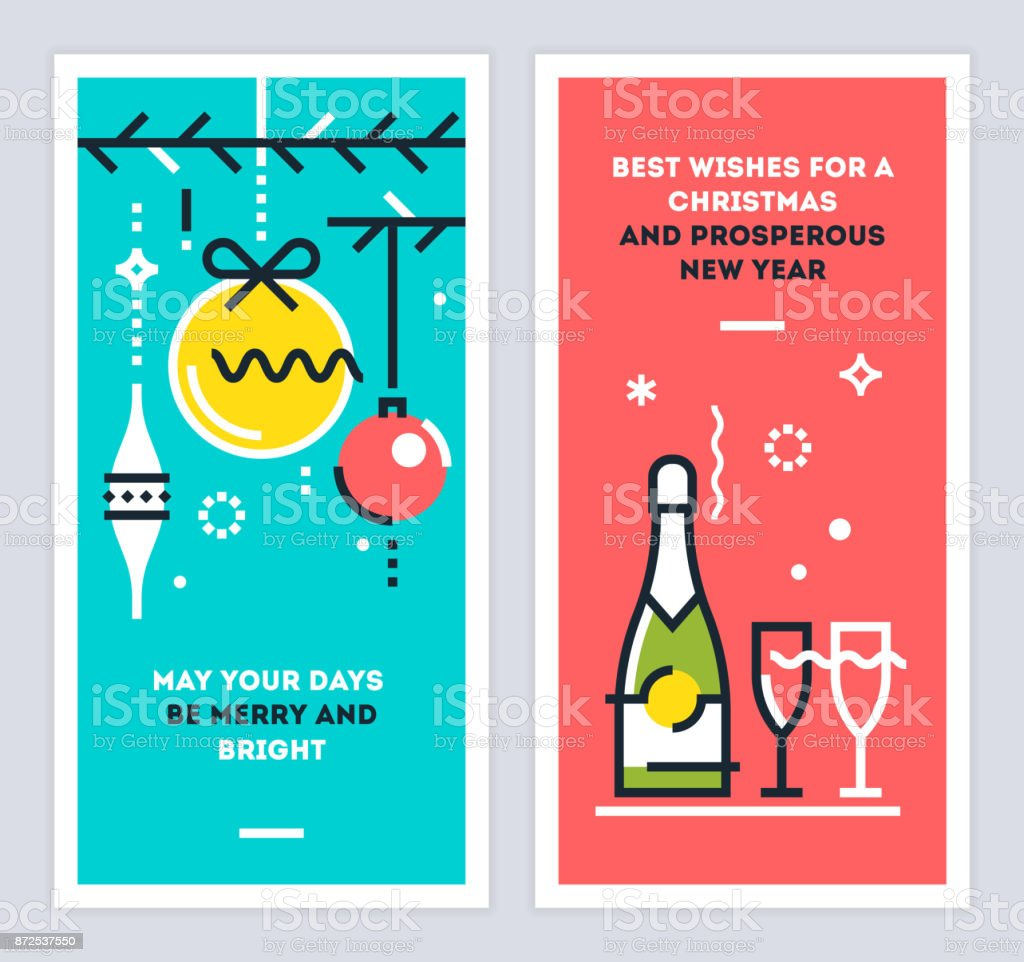 christmas and new year linear cards set with christmas tree branches balls champagne bottle