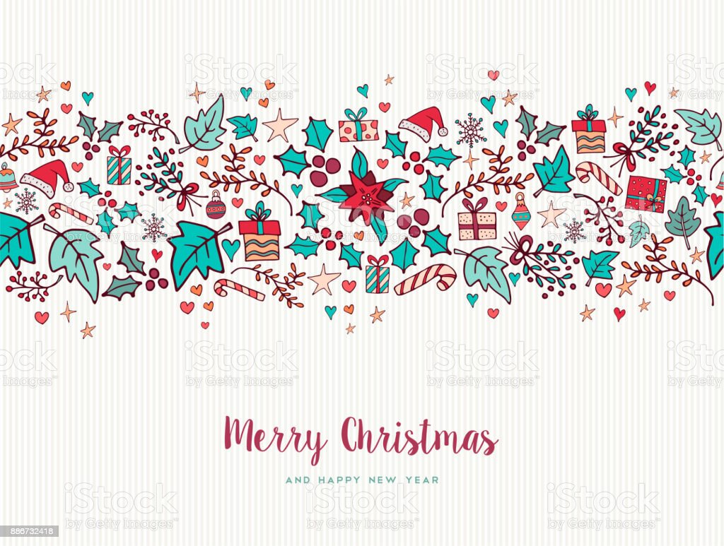 Christmas and new year nature holiday pattern card vector art illustration