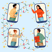 Friends celebrate Christmas and New Year online using mobile phones. Christmas new normal concept with man and woman. Party online, video call. Vector illustration.