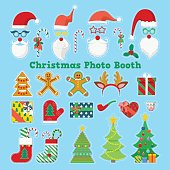 christmas and new year photo booth elements with glasses props