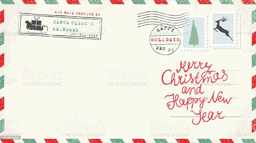 Christmas and New Year Postcard Wish vector art illustration