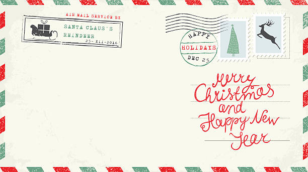 christmas and new year postcard wish - postcard stock illustrations