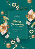 Merry Christmas and Happy New Year realistic poster template with gifts, candles and decorations