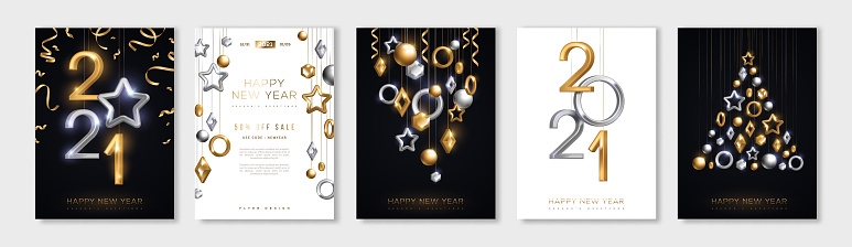 Christmas and New Year posters set