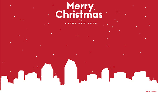 Christmas and new year red greeting card with white cityscape of San Diego