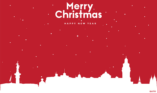 Christmas and new year red greeting card with white cityscape of Quito