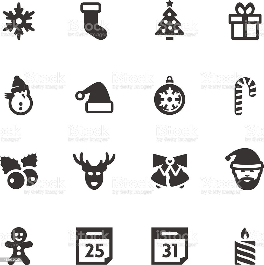Christmas and New Year related vector icons set vector art illustration