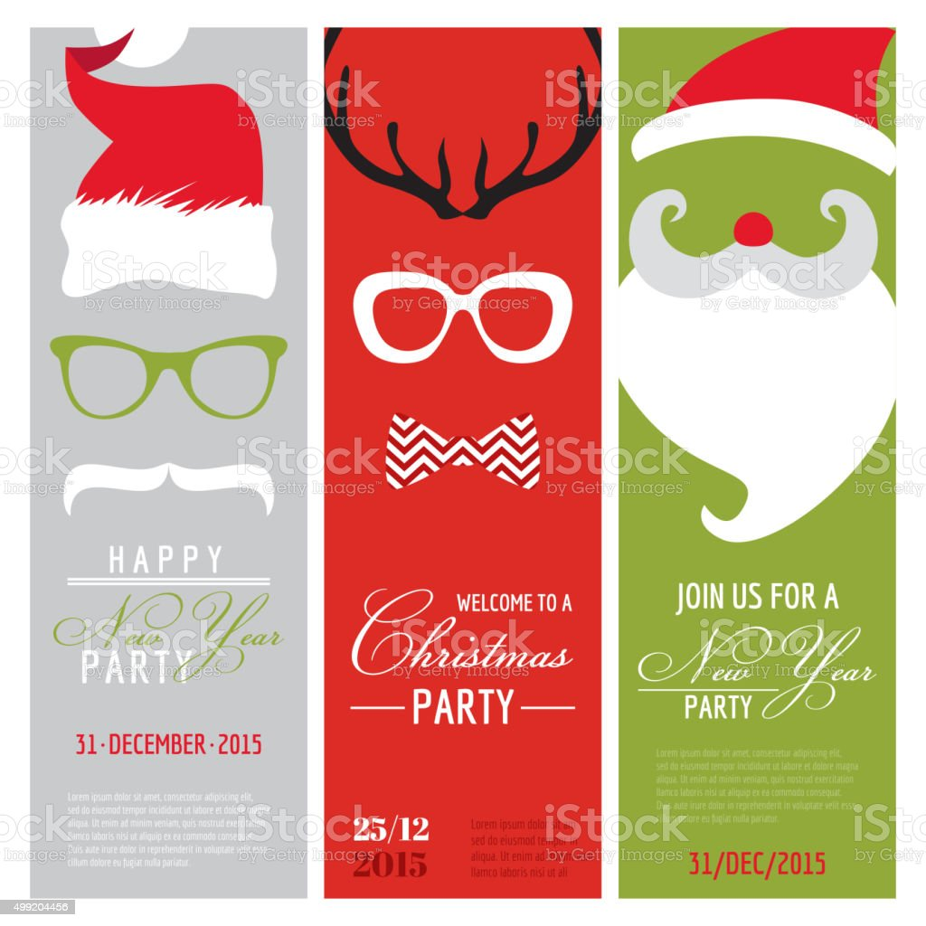 Christmas And New Year Retro Party Cards Photo Booth stock vector ...