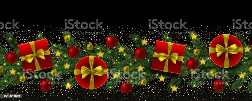 christmas and new year seamless border with fir tree royalty free christmas and new year
