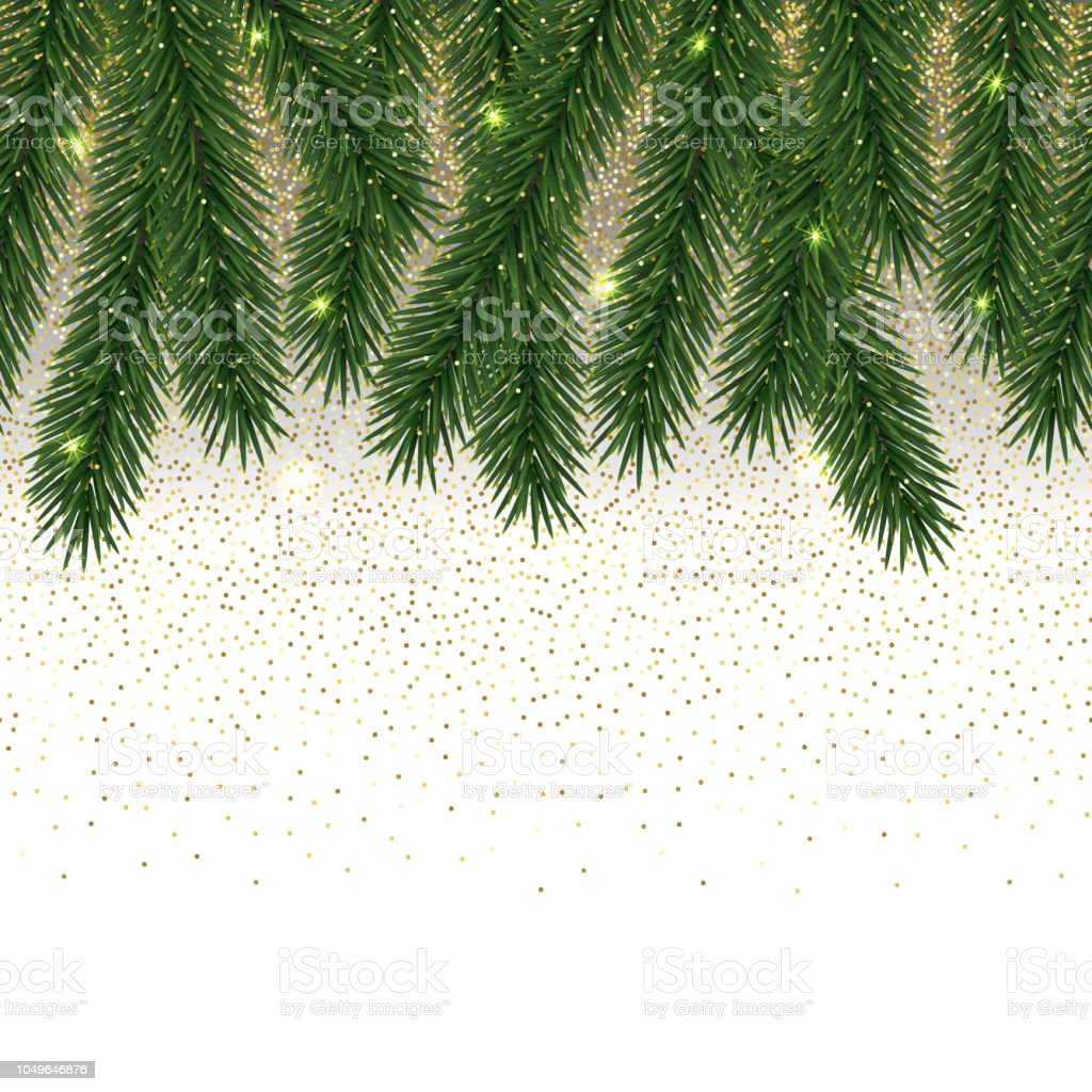christmas and new year seamless border with glitter and fir tree royalty free christmas and