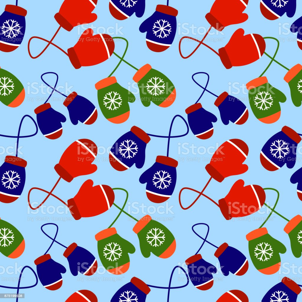Christmas and New Year seamless pattern of winter color gloves on blue background. Flat design Vector Illustration vector art illustration