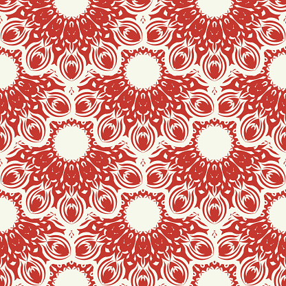 Christmas and New Year seamless pattern. Red and white fair isle pixel pattern in red and white with nordic snowflakes for winter hat, ugly sweater, jumper or other designs