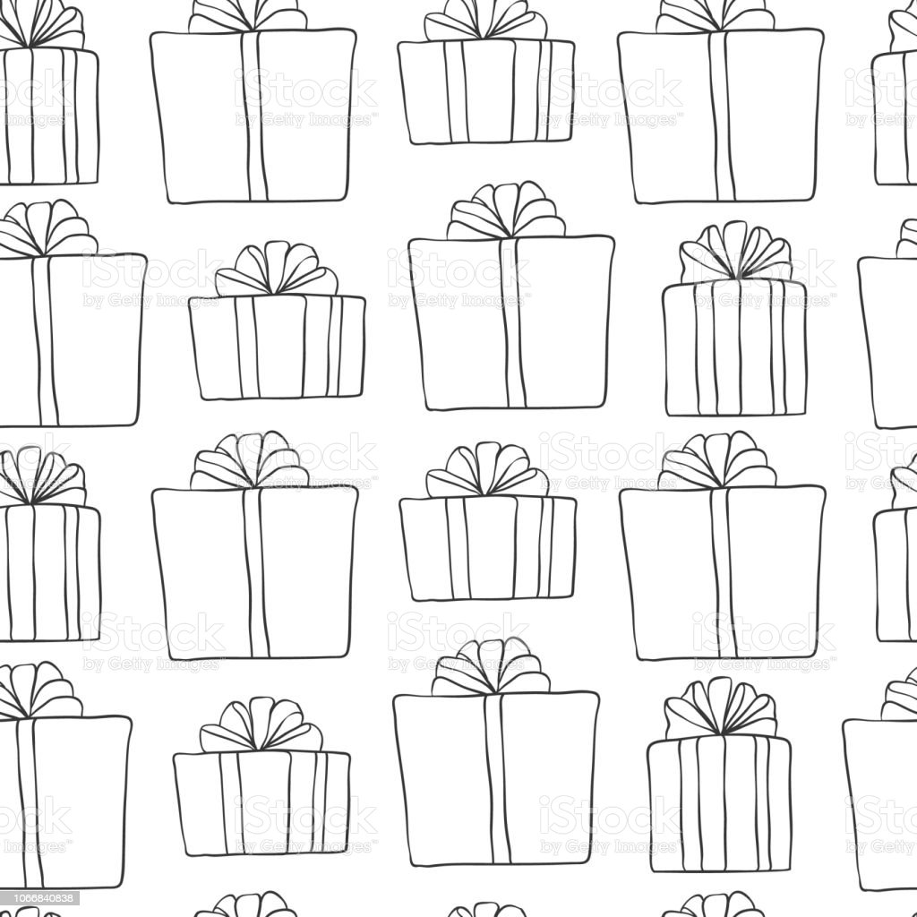 Christmas Images Black And White.Christmas And New Year Seamless Pattern Vector Holiday Black