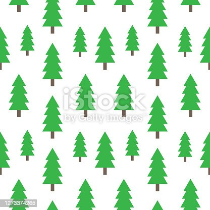 istock Christmas and New Year seamless pattern with Christmas Trees. Vector holiday background for fabric, wallpaper or wrapping paper 1273374265