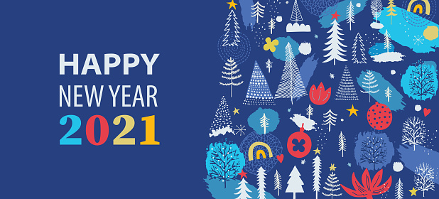 Happy New Year 2021 website banner with illustration and copy space text.