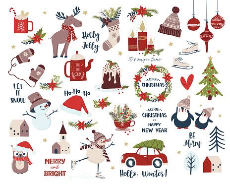 Christmas and New Year set. Cartoon vector illustration
