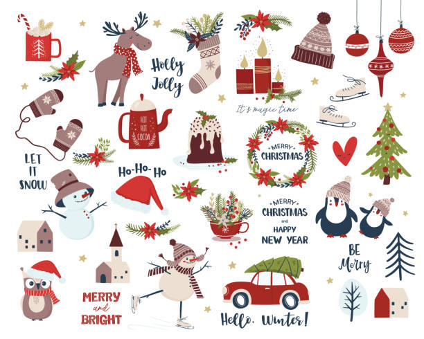 Christmas and New Year set. Cartoon vector illustration Merry Christmas and New Year collection. Scandinavian design set with snowman, Christmas flowers, houses, candles,  deer, penguin, sock, cup , cake, mittens. Isolated vector clip art stock illustrations