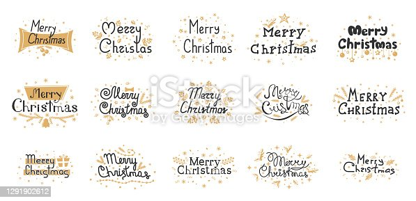 istock Christmas and new year signs isolated on white background. Design text for banner, poster, greeting card. Black gold lettering. Vector illustration 1291902612