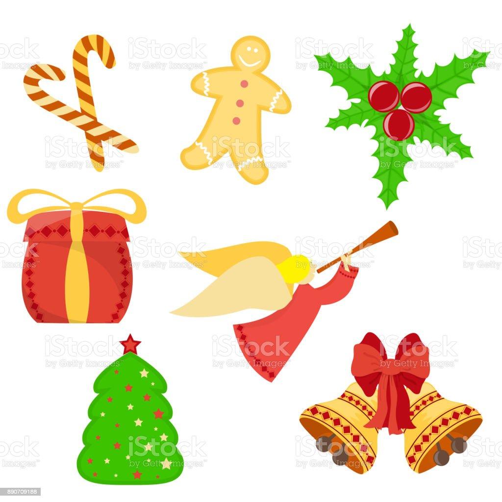 Christmas and New Year Symbols vector art illustration