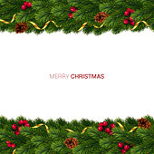 Christmas and New year realistic vector template with christmas tree branches, stars, cones and holly berries on white background.