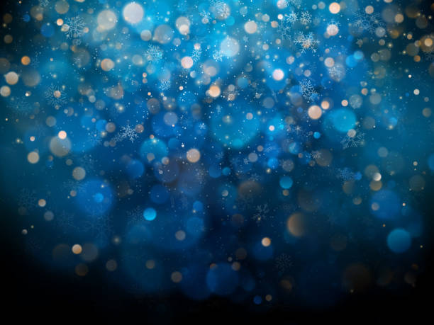 Christmas and New Year template with white blurred snowflakes, glare and sparkles on blue background. EPS 10 Christmas and New Year template with white blurred snowflakes, glare and sparkles on blue background. EPS 10 vector file included christmas backgrounds stock illustrations