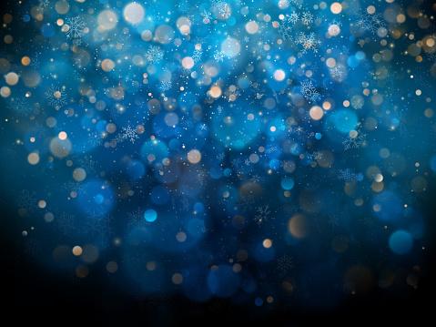 耶誕節和新年範本與白色模糊的雪花 眩光和閃閃發光的藍色背景每股收益10向量圖形及更多俄羅斯圖片
