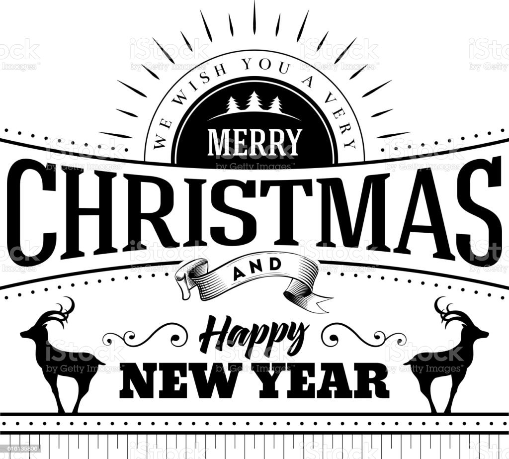 Christmas And New Year Typographic Design vector art illustration