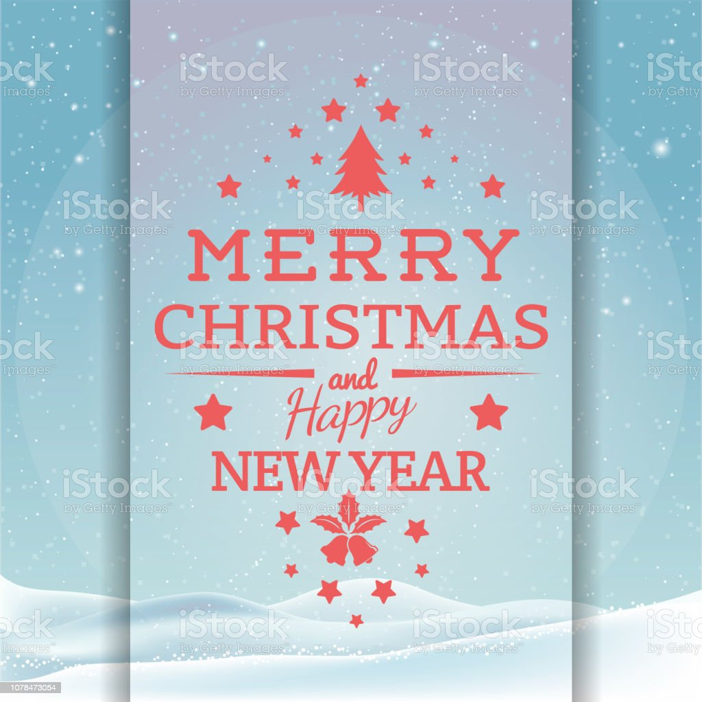 Christmas And New Year Typographical Background With Winter Landscape Illustration