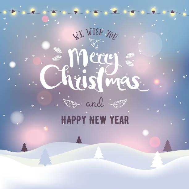 bildbanksillustrationer, clip art samt tecknat material och ikoner med jul och nyår typografiska på bakgrund med vinterlandskap med norrskenet, snöflingor, ljus, stjärnor och krans. xmas kort. vektor illustration. - northern lights