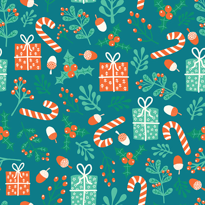 Christmas and New Year vector seamless pattern. Winter holiday season repeating background with flat doodle gift boxes, candy canes, mistletoes, presents, nuts. Scandinavian style. Xmas holidays items