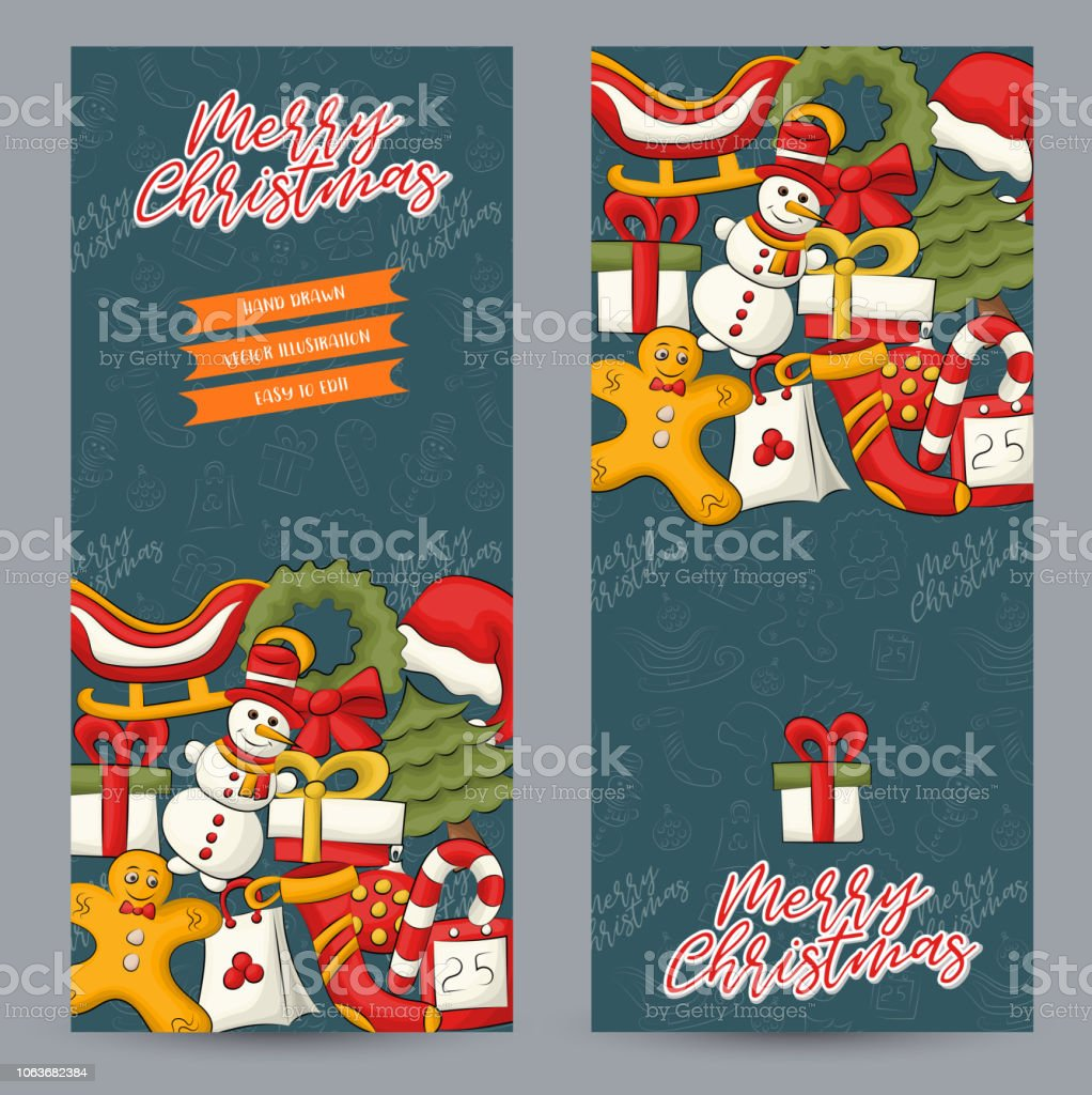 christmas and new year vertical banner set cute poster for invitation advertisement web