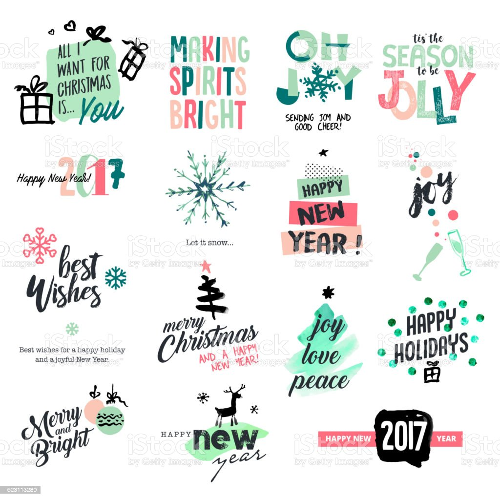 Christmas and New Year vintage style badges and stickers vector art illustration