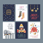 Christmas and New Year winter posters and greeting cards. Happy holidays graphic set with lovely hygge lifestyle elements
